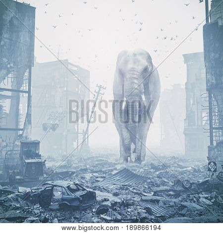 giant elephant in destroyed city. creative concept. Media 3d mixed. Noise added