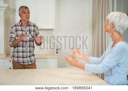 Senior couple quarrelling with each other in kitchen