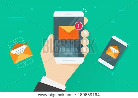 Email mobile phone notifications vector illustration, flat cartoon smartphone with read and unread inbox messages, concept of mail on cellphone