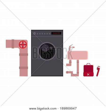 Plumber tools, objects of plumbing - sewer pipe, wash bowl, washing machine, cartoon vector illustration isolated on white background. Toolbox, wrench, sink, washing machine, sewage - plumbing objects