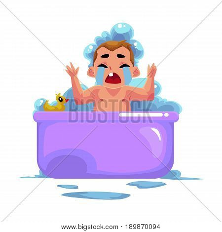 Cute little baby kid, infant, child crying in foam bath, unwilling to wash, cartoon vector illustration isolated on white background. Little caucasian kid, baby, infant crying sadly in foam bath