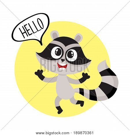 Cute raccoon character showing greeting gesture, saying hello, cartoon vector illustration isolated on white background. Sticker with happy little raccoon showing greeting, welcoming gesture