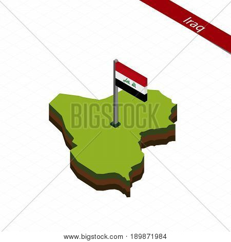 Iraq Isometric Map And Flag. Vector Illustration.