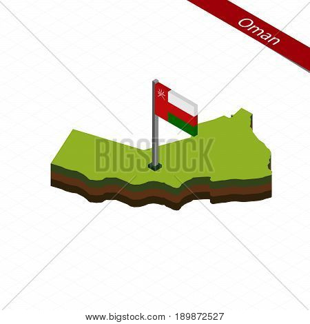 Oman Isometric Map And Flag. Vector Illustration.