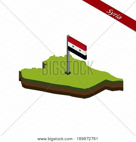 Syria Isometric Map And Flag. Vector Illustration.