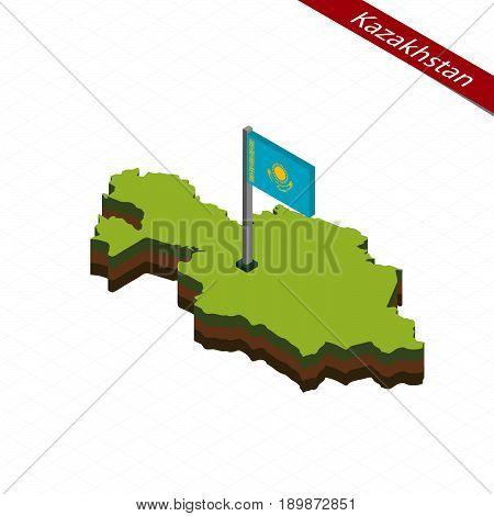 Kazakhstan Isometric Map And Flag. Vector Illustration.