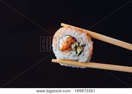 Philadelphia Roll Classic Wiht  Salmon Philadelphia Cheese Cucumber Avocado. Japanese Sushi.