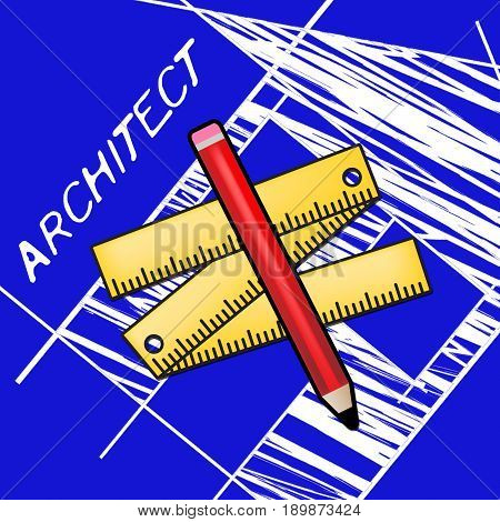 Architect Equipment Means Draftsman Career 3D Rendering