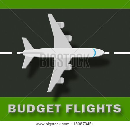 Budget Flights Shows Special Offer 3D Illustration