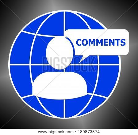 Comments Icon Shows Feedback Report 3D Illustration