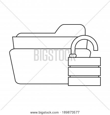file folder with safety lock privacy or security icon image vector illustration design