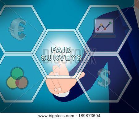 Paid Icons Surveys Means Market Research 3D Illustration