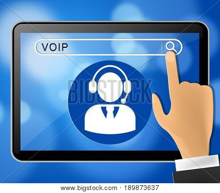 Voip Tablet Representing Internet Voice 3D Illustration