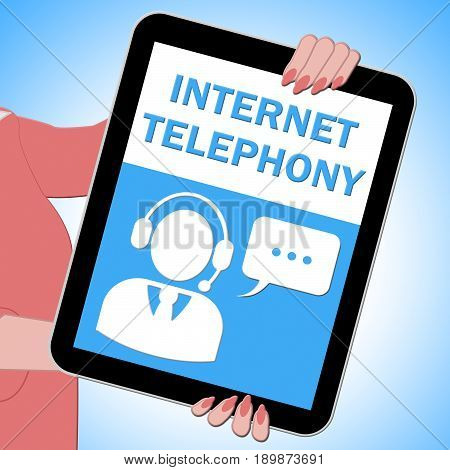 Internet Telephony Tablet Voice Broadband 3D Illustration