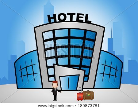 Hotel Lodging Showing Holiday Accomodation 3D Illustration