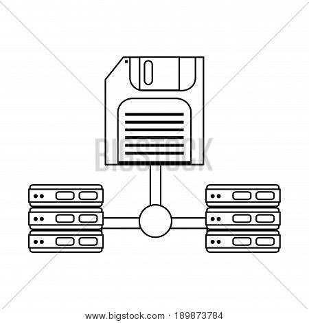 diskette with server web hosting related icon image vector illustration design