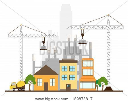 Apartment Construction Displaying Building Condos 3D Illustration