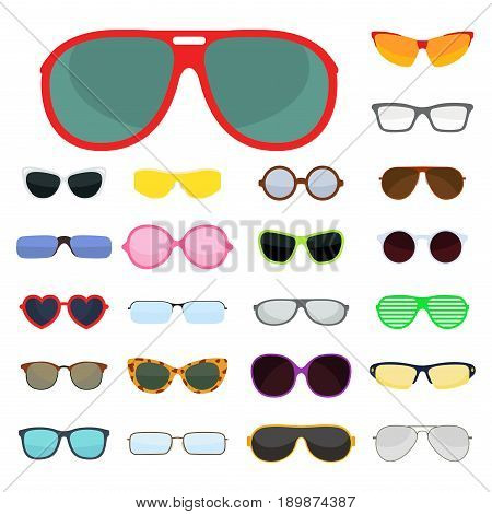 Fashion set sunglasses design retro accessory sun optical view object and spectacles vintage plastic frame modern eyeglasses vector illustration. Elegance summer sight shape classic reflection wear.