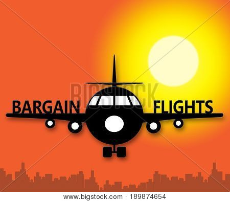 Bargain Flights Representings Flight Sale 3D Illustration