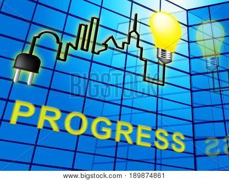 Progress Symbol Shows Betterment Headway 3D Illustration