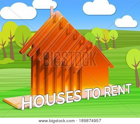 Houses To Rent Displays Real Estate 3D Illustration