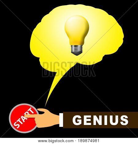 Genius Brain Means Specialist And Guru 3D Illustration