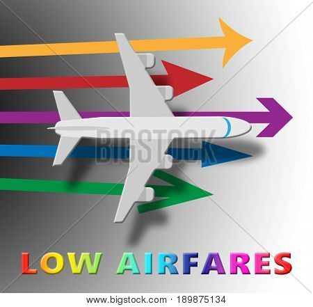 Lowest Airfares Means Cheapest Flights 3D Illustration