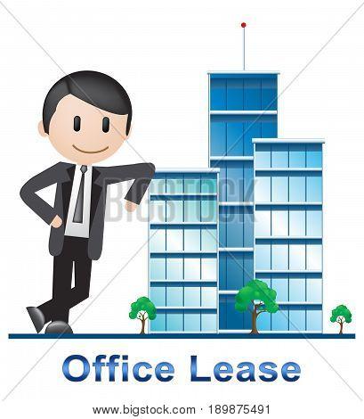 Office Lease Buildings Describing Real Estate 3D Illustration