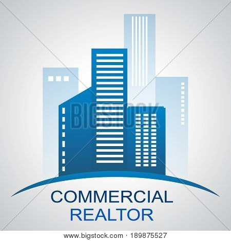 Commercial Realtor Describing Real Estate Buildings 3D Illustration