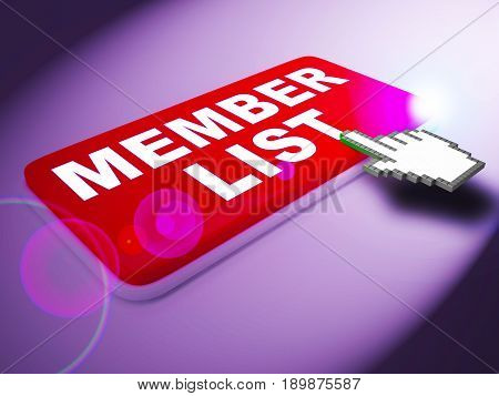 Member List Means Subscription Listing 3D Rendering
