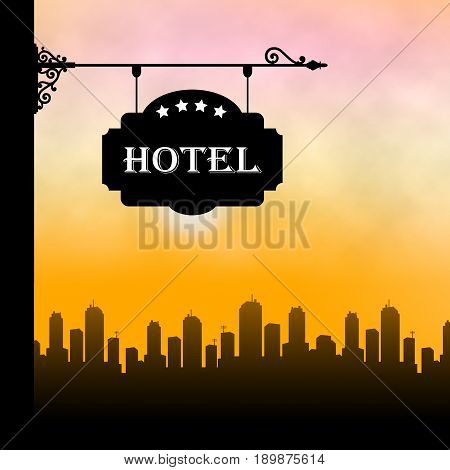 Hotel Lodging Showing City Accomodation 3D Illustration