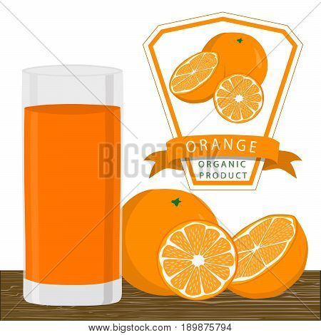 Abstract vector illustration logo for whole ripe fruit yellow orange with green stem leaf cut sliced.Orange drawing consisting of tag label peel fruits pip ripe sweet food.Drink fresh oranges glass.