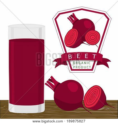 Abstract vector illustration logo for whole ripe vegetables red beet with stem leaf cut sliced background.Beet drawing consisting of tag label peel fruits pip ripe sweet food.Drink fresh beets glass.