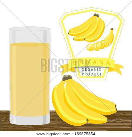 Abstract vector illustration logo for whole ripe fruit yellow banana  green stem leaf cut sliced.Banana drawing consisting of tag label bow peel fruits pip ripe sweet food.Drink fresh bananas glass.
