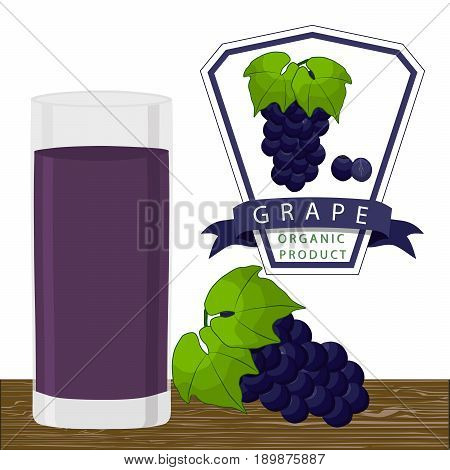 Vector illustration logo for whole ripe fruit blue grape green stem leaf,cut sliced. Grape drawing pattern consisting of tag label peel fruits pip ripe sweet food. Drink fresh grapes health glass vine