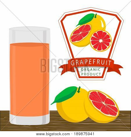 Abstract vector illustration logo for whole ripe fruit orange grapefruit citrus cut sliced.Grapefruit drawing consisting of tag label fruits pip ripe sweet food.Drink fresh citruses grapefruits glass.