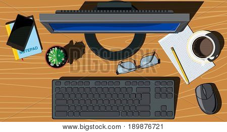 Workplace of an employee in the office view from above. Each detail is on a separate layer and is grouped with its shadow