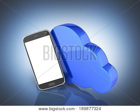 Concept Of Cloud Storage Smartphone With Cloud Storage App On Dark Blue Gradient Background 3D