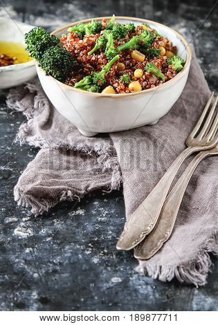 Quinoa Salad With Broccoli And Corn. The Concept Of Superfoods.