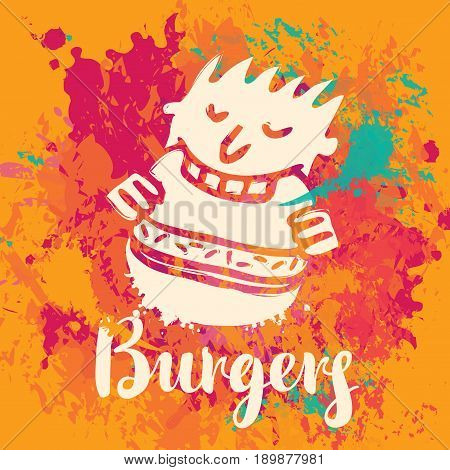 Vector banner with the little man who eats burger and inscription burgers on the abstract background of colorful splashes and stains