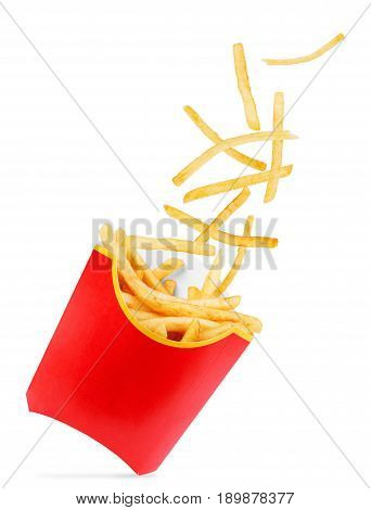 French fries flies into a red cardboard box on a white background