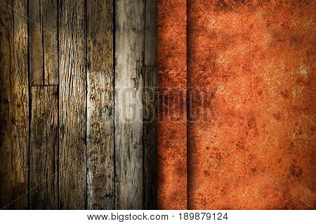 Old rustic metal texture with grunge wooden background