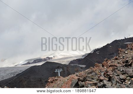 Ascent on a cable car to Elbrus at a height