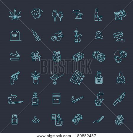 Simple Set of Crime Related Vector Line Icons