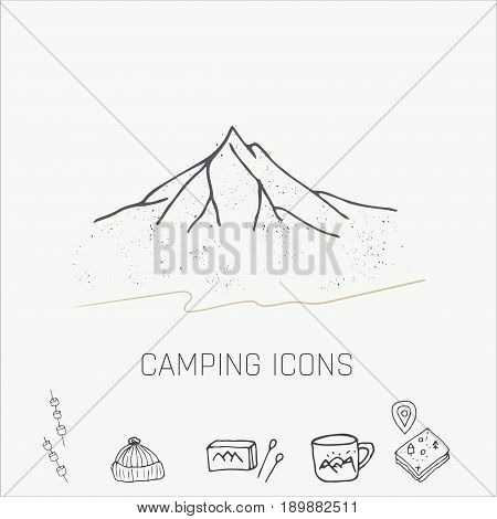 Hand drawn camping icons set. Camping icons to use for web and mobile UI
