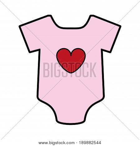 feminine onesie with heart baby or shower related  icon image vector illustration design