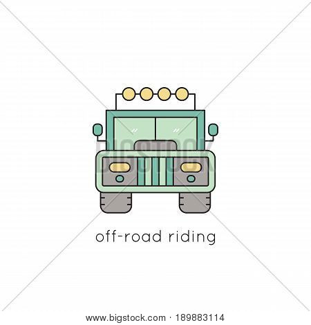 Off-road riding vector thin line icon. Isolated symbol. Logo template for safari tour, element for travel agency products, tour brochure, excursion banner. Simple mono linear modern design.