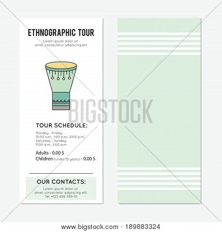 Goblet drum. Ethnographic tour vector vertical banner template. Traditional festival announcement. For travel agency products, tour brochure, excursion banner. Simple mono linear modern design.