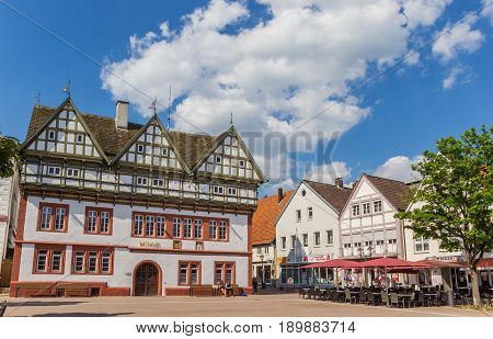 BLOMBERG, GERMANY - MAY 22, 2017: Town hall on the central square of Blomberg, Germany