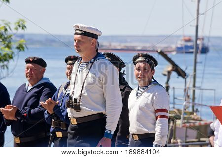 Solemn Meeting Of The Crew Of A Reconstructed Warship From The Second World War In The Port.